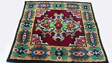 "Antique Vintage Turkish Unique Handmade Hand-Knotted Thick Rug 52""x 52"" wool #84"