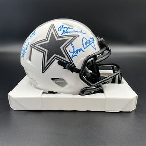 Roger Staubach Tony Dorsett Drew Pearson Signed Cowboys Lunar Mini Helmet Becket