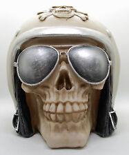 Spardose Sparfigur Skull - Totenkopf mit Motorradhelm und Fliegerbrille
