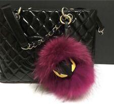 US Seller Mini Monster Keychain Fur Pom Pom Ball Key Ring Bag Raccoon