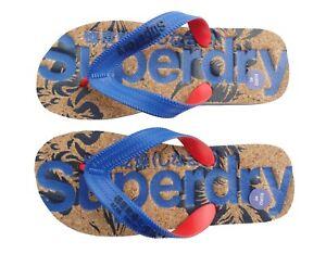 SUPERDRY.  Flip Zehentrenner Schlappen mit Korkbett  blau unisex  40 - 41  Neu