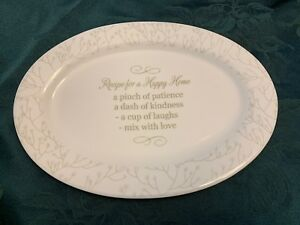 Happy Home Poem Mary Square Molly Oval Platter KIRKA Family Christian 182461