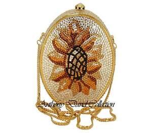 Anthony David Sunflower Silver & Gold Evening Bag with Swarovski Crystals