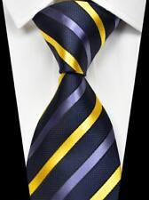 Hot!Classic Striped Dark Blue Yellow 100% Silk Men's Fashion Necktie 3.15''(8CM)