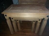 Nest of 3 Tables Mexican Solid Waxed Pine Living Room Furniture Units