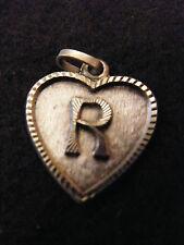 Ciondolo Cuore Medaglione in argento placcato Lettera R 2 cm