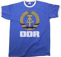 DDR East Germany Mens RINGER T-Shirt Retro Style Birthday Gift