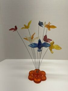 Vintage RETRO 10 Kinetic Birds on Wires Sculpture Lucite Acrylic New Design USA