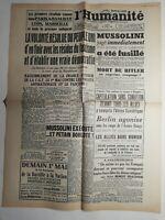 N381 La Une Du Journal L'humanité 30 avril 1945 volonté résolu peuple uni