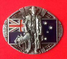 AUSTRALIAN COWBOY RANCHER WILDWEST OUTBACK RODEO FLAG FANCY DRESS BELT BUCKLE