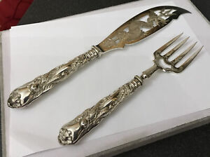 Vintage ? Chinese Export Silver Fish Servers Ornate Dragon Engraved Pierced