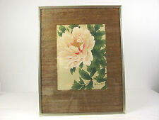 Vintage Oriental Asian Pink Flower Blossom Matted Print 23 x 18 Inches