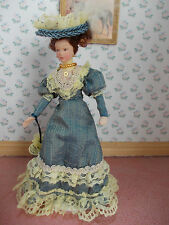 VICTORIAN LADY DOLL DRESSED IN BLUE FOR A DOLLS HOUSE