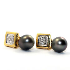 GENUINE DIAMOND BLACK TAHITION PEARL SOLID 18K YELLOW GOLD STUDS EARRINGS