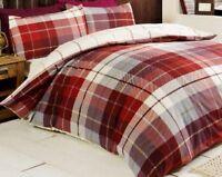 Rapport Lomond Red Tartan 100% Brushed Cotton Duvet Set Bedding FREE P&P