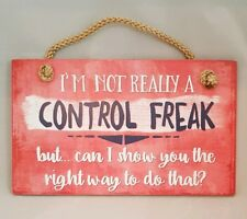 """Not Control Freak Funny Office Sign Wall Art Decor 9.5""""x5.5"""" Gift"""
