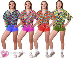 LADIES HAWAIIAN SHIRT BEACH PARTY FANCY DRESS LUAU LOUD HOLIDAY TOP HEN PARTY