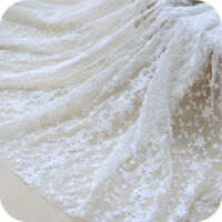 Floral Embroidery White Lace Fabric Bridal Dress Material Mesh Curtain Soft Cosy