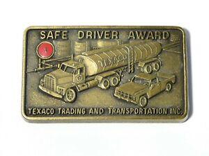 Vintage USA Advertising Pictorial Brass Belt Buckle Texaco Safe Driver Award