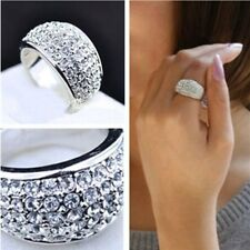Size 7 Womens Jewelry Stainless Steel Silver Full Rhinestone Crystal Ring Charm