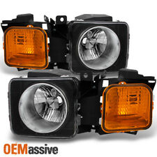 Fit 06-10 H3 H3T Black Headlight w/ Amber Corner Signal Left + Right Replacement