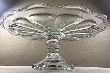 "Vintage Clear Pressed Glass Depression Pedestal Wedding Cake Stand Petal 11"" EXC"