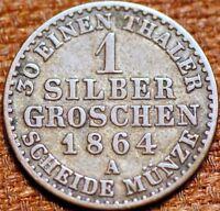 1864 A German States Prussia 1 Silber Groschen 1864 A  Wilhelm I KM# 485