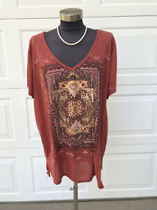 Madison & Berkeley Linen Blend V-Neck Metallic Foil Coral Shirt T-Shirt 3X NWT