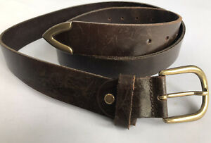 """Vintage Brown Leather Brass Buckled Belt 32 34 36 38"""" Retro 70's Mens Italy"""