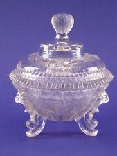 Ancien sucrier en verre moulé pressé sur pied tripode old glass sugar bowl candy