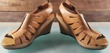 Clarks Indigo Women's Tan Leather Ankle Strap Wedge Heels Sandals US 10 M