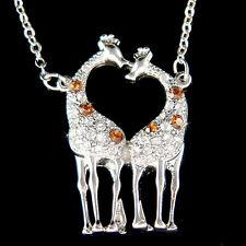 w Swarovski Crystal Giraffe Lover Safari Animal Girls Pendant Chain Necklace New