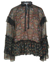 Perseverance London Ruffle Floral Blouse Womens Size UK 8 Multicoloured *Ref156