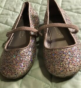 Girl's Fancy Cupcake Couture Lil Angel Size 8 M Silver Sparkly Shoes