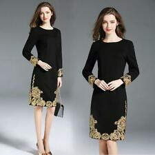 womens Girls fashion Slim round collar embroidery Dress Spring New Formal AU New