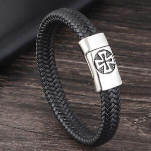 Cross Silver Men's Genuine Leather Stainless Steel Braided Bracelet Wristband