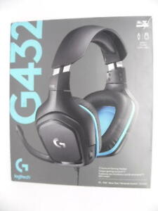 Logitech G432 Wired Gaming Headset 7.1 Surround Sound PC Leatherette Black/Blue
