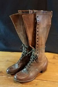 Vtg 1920s Womens Tall Lace-up Boots. 4.5-D Wearable.