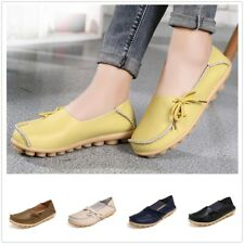 AU Women's Flat Casual Oxfords Leather Shoes Peas Driving Lazy Loafers Moccasins