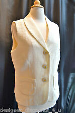 Coldwater Creek Ivory lined button front Shawl V collar tweed vest top size M 10