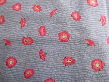 Free Spirit Victorias Treasure Chest blue cotton fabric PINK poppy half yard cut