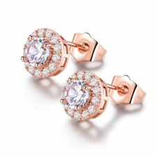 18K Rose Gold Filled Sparkly Sapphire Crystal Round Stud Earrings For Women