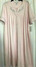 Miss Elaine Robe Jacquard Terry Pink Short Sleeve Gripper Pockets Womens Size XL