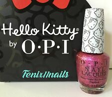 New! OPI HELLO KITTY NL H86 STARRY-EYED FOR DEAR DANIEL pink glitter nail polish