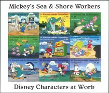 St. Vincent 1996 Disney/Workers/Mickey/Fishing/Sea/Lighthouse/Fish 9v sht n18913