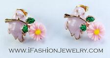 3D Cute Fat Little Bird Pink Daisy Flower Stud Earrings Enamel Fashion Jewelry