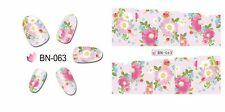 Nail Art Water Decals Stickers Transfers Wraps Dusty Pink Flowers Floral (BN63)