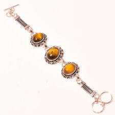 """Dazzling Tiger Eye Gemstone 925 Sliver Fashion Ethnic Jewelry Bracelet 6-8"""" Sj-2"""