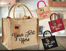 Personalised Printed Lunch Bag, Westford Mill Mini Jute Tote Beach Gift Bag