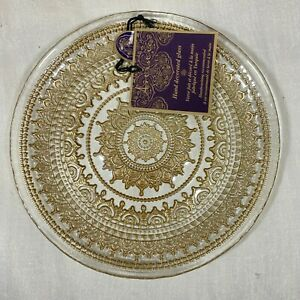 Artistic Accents Gold Medallion Clear Scalloped Glass Salad Plates Set of 4 New